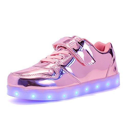 Voovix Unisex-Kinder Licht Schuhe mit Fernbedienung Led Leuchtende Blinkende Low-top Sneaker USB Aufladen Shoes für Mädchen und Jungen(Rosa01,EU34/CN34)