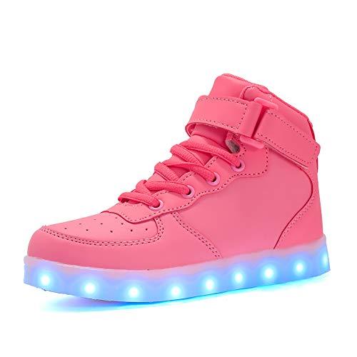 7 Farben LED Schuhe USB Aufladen Leuchtschuhe Licht Blinkschuhe Leuchtende Sport Sneaker Light up Turnschuhe Damen Herren Kinder Shoes