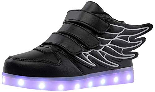 Jungen Mädchen Kinder 7 Farben LED Light up Schuhe USB Aufladen Sneaker Leuchtschuhe Blinkschuhe (30 EU, Schwarz)