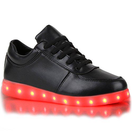 stiefelparadies - Blinkende Damen Herren Kinder Mädchen Jungen Sneakers High Low Led Light Farbwechsel LED Licht Schuhe 109160 Schwarz 38 Flandell