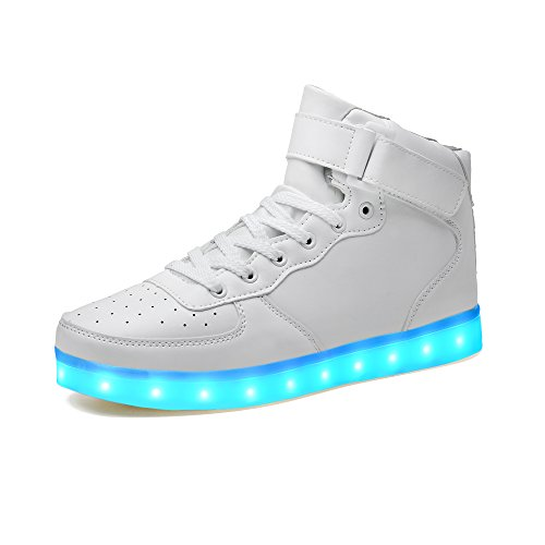 LeKuni Unisex LED Schuhe Leuchtschuhe 2019 Verbesserung 7 Farbe Blinkende Leuchtende Light up High Top Sneakers, Weiß, 40 EU (Herstellergröße: 41)