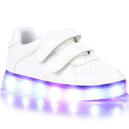 Stiefelparadies Blinkende Damen Herren Kinder Mädchen Jungen Sneakers High Low Led Light Farbwechsel LED Licht Schuhe 118507 Weiss Weiss Brooklyn 26 Flandell