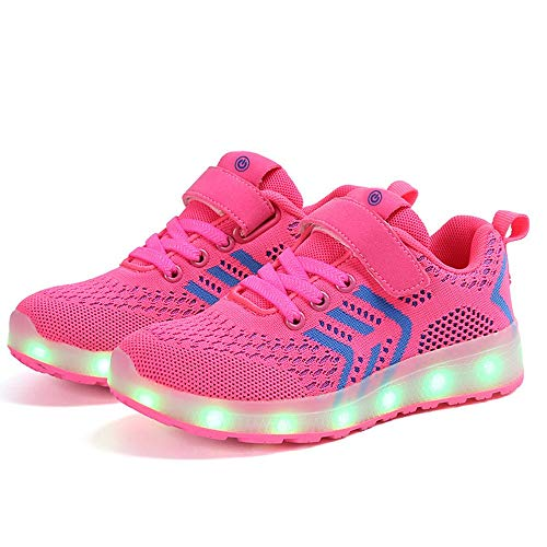 Temptation at dusk zy Leuchtschuhe,led Turnschuhe Kinder Jungen Mädchen USB Auflade Sportschuhe Leichte Schuhe Mode Blinkschuhe Low-Top Casual Outdoor Hallenschuhe,Größe (25-37) pink-27