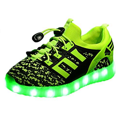 Yeeper LED Leuchtende Bunte Sneaker Turnschuhe Unisex Kinder Jungen Mädchen USB Auflade Sportschuhe Leichte Schuhe 1832 Grün 37
