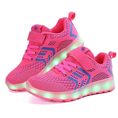 zicai LED Sportschuhe für Kinder USB Aufladen Blinkschuhe Jungen Sneakers Laufschuhe Turnschuhe Trainer Blinkschuhe Schuhe Für Mädchen 25-37 (28, rot)