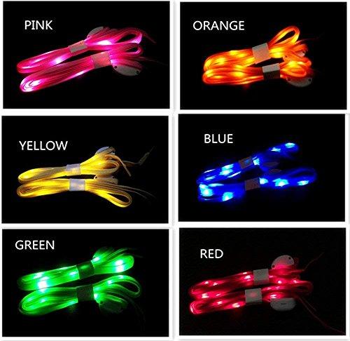 LED-Schnürsenkel, hohe Sichtbarkeit, weiches Nylon, leuchtende Schnürsenkel mit 3 Modi in 6 Farben, für Sicherheit beim Laufen und Radfahren bei Nacht, cooler Disco-Party, Cosplay, Hip-Hop-Tanz, 6 Paar