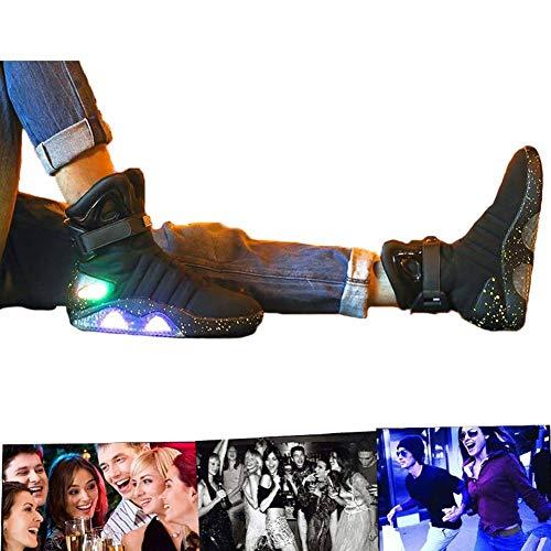 LED Schuhe USB Aufladen Leuchtschuhe Licht Blinkschuhe Leuchtende Sport Sneaker Light Up Turnschuhe Damen Herren Black-43