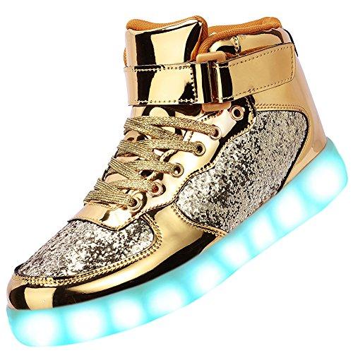 Odema Turnschuhe für Damen und Herren, hoch, mit LED-Licht, blinkende Sneakers, gold - gold - Größe: Männer 41 EU/Frau 40 EU