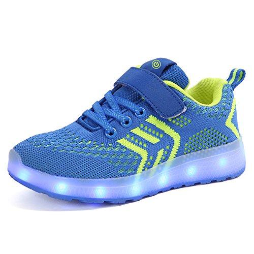 DoGeek Sportschuhe für Jungen und Mädchen, 7 Farben, Unisex, atmungsaktiv, USB, mit LED-Licht (halbe Größe größer wählen), Blau - Blau a - Größe: 36 EU