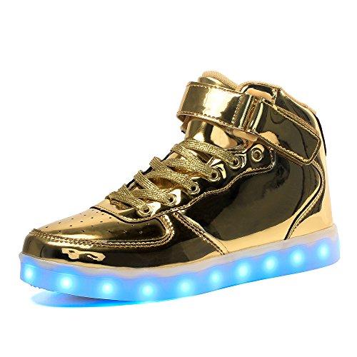 Voovix Kinder High-top LED Licht Blinkt Sneaker mit Fernbedienung-USB Aufladen Led Schuhe für Jungen und Mädchen (Gold, EU41)