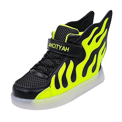 Skateboard Schuhe Flügel Turnschuhe Jungen Mädchen Wanderschuhe Schuhe mit LED Lichter blinken Schuhe - Schwarz Grün, 28