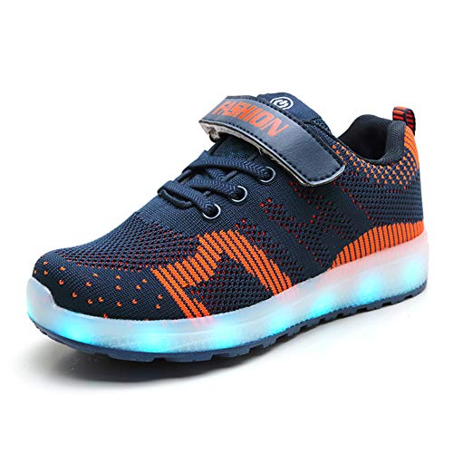 Skyeagle Unisex Kinder LED Schuhe USB Aufladen Leuchtschuhe Licht Blinkschuhe Leuchtende Outdoor Sportschuhe Atmungsaktiv Outdoor Fitnessschuhe Jungen Mädchen (30 EU, Blau01)