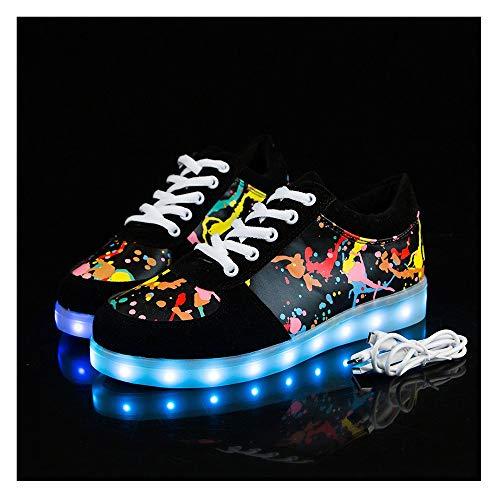 Temptation at dusk zy Blinkende Schuhe,Leuchtende Schuhe, 7 Farben LED Schuhe USB Aufladen Leuchtschuhe Licht Blinkschuhe Sport Sneaker Light Up Turnschuhe Damen Herren Kinder Shoes Größe(27-44) 39