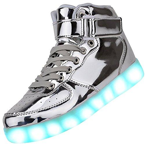 Padgene Damen Herren LED leuchtet Turnschuhe High Top Blinken Trainer USB Ladekabel Spitze bis Paare Schuhe