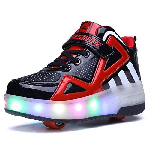 Unisex Kinder LED Rollschuh Schuhe mit Einstellbare Doppelräder LED Lichter blinken Skateboardschuhe Outdoor-Sportarten Gymnastik Rollerblades Sneaker für Mädchen Jungen (35 EU, Schwarz+Rot 805)