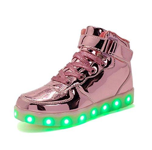 Rojeam Unisex Erwachsene High-Top LED Schuhe Sportschuhe USB Lade Outdoor Leichtathletik Beiläufige Paare Schuhe Sneaker Für Damen Herren Jungen Mädchen Kinder Leuchtend Rosa 39 EU