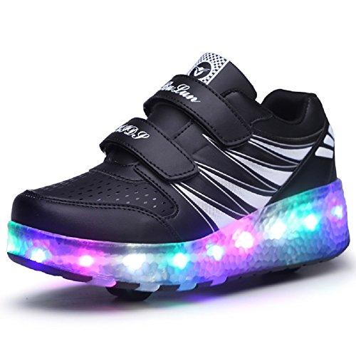 Unisex Kinder LED Rollschuh Schuhe mit Einstellbare Doppelräder LED Lichter blinken Skateboardschuhe Outdoor-Sportarten Gymnastik Rollerblades Sneaker für Mädchen Jungen