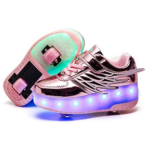 Kinder Mode LED Rollenschuhe mit Rollen 7 Farbe Blinken USB Aufladbare Skateboardschuhe Double Räder Skate Schuhe Outdoor Gymnastik Turnschuhe für Junge Mädchen