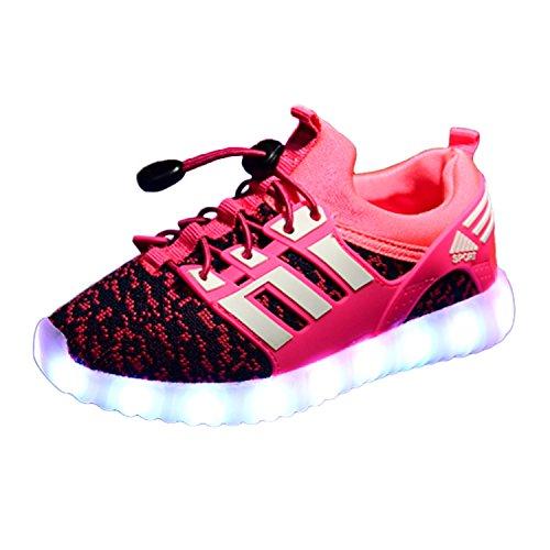 Yeeper LED Leuchtende Bunte Sneaker Turnschuhe Unisex Kinder Jungen Mädchen USB Auflade Sportschuhe Leichte Schuhe 1832 Pink 36