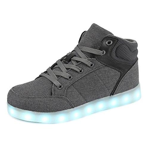 Dannto Kinder Leuchtende Blinkschuhe Turnschuhe Farbe USB Aufladen LED Licht Kinderschuhe Sportschuhe Hoch Oben Lässige Mode Sneakers für Jungen Mädchen(grau,35)