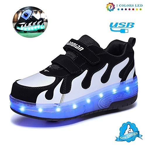 WXBYDX Unisex Kinder Mode LED Schuhe Mit Rollen Drucktaste Einstellbare Skateboardschuhe Outdoor Gymnastik Turnschuhe 7 Farben LED Schuhe USB Aufladen Leuchtschuhe,Größe (28-42) Black white-40