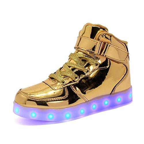 Rojeam Unisex Erwachsene High-Top LED Schuhe Sportschuhe USB Lade Outdoor Leichtathletik Beiläufige Paare Schuhe Sneaker Für Damen Herren Jungen Mädchen Kinder Gold 37 EU