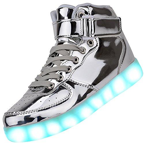 Odema Turnschuhe für Damen und Herren, hoch, mit LED-Licht, blinkende Sneakers, silber - silber - Größe: Männer 41 EU/Frau 40 EU