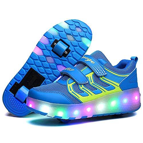 JYMEI Unisex Skateboard Schuhe Rollschuh LED Lichter Blinken Schuhe Räder Schuhe Turnschuhe Outdoor Sports Training Skate Turnschuhe Retractable Technical Skateboarding Laufsportschuhe,Blue-2-42