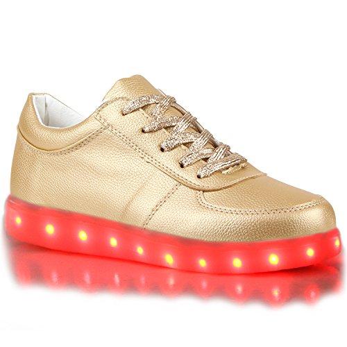 stiefelparadies - Blinkende Damen Herren Kinder Mädchen Jungen Sneakers High Low Led Light Farbwechsel LED Licht Schuhe 114582 Gold Low 37 Flandell