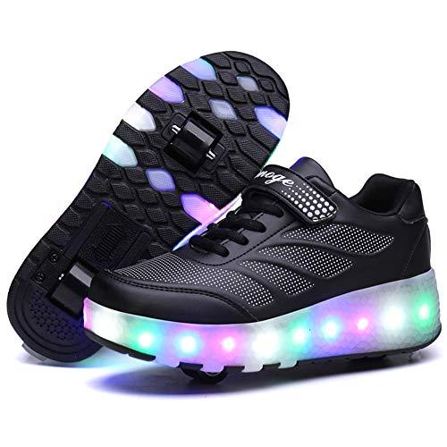 Unisex Kinder LED Rollenschuhe mit Rollen LED Lichter Blinken Rollschuh Skates Schuhe Outdoor Gymnastik Sneaker Mode Skateboardschuhe für Jungen Mädchen